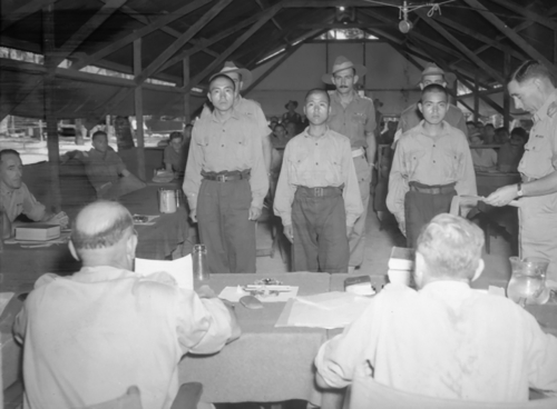 Morotai Island, Halmahera Islands, Netherlands East Indies 1945. War criminal trial of Lieutenant Asoaka, Private Susuika and Private Oichi.(c) Australian War Memorial (OG3677)