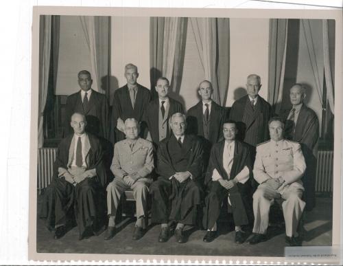 Tokyo Tribunal: All 11 Judges, formal group photo (Pal, Röling, McDougall, Bernard, Northcroft, Jaranilla, Patrick, Cramer, Webb, Mei, Zaryanov. © Courtesy of NARA, 111-SC-251115