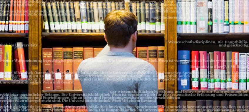 Regal im Lesesaal. © Universität Wien / Alexander Schuppich