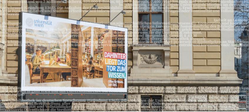 Plakat vor dem Universitätsgebäude. © Universität Wien / Hannah Alker-Windbichler