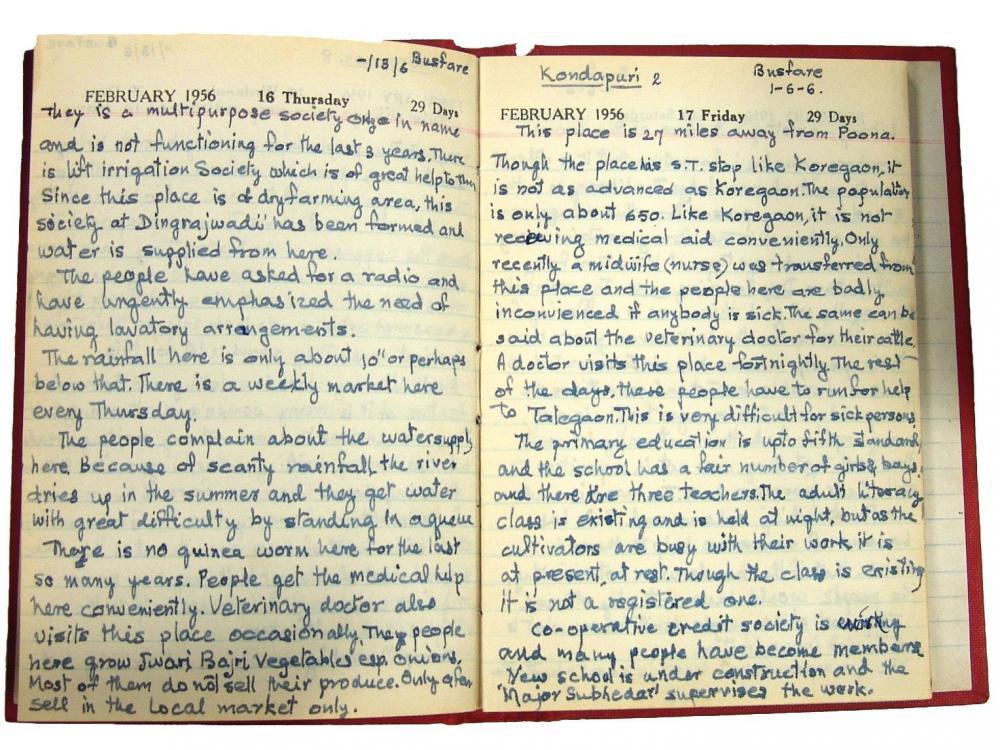 Tagebuch von S. G. Vinekar