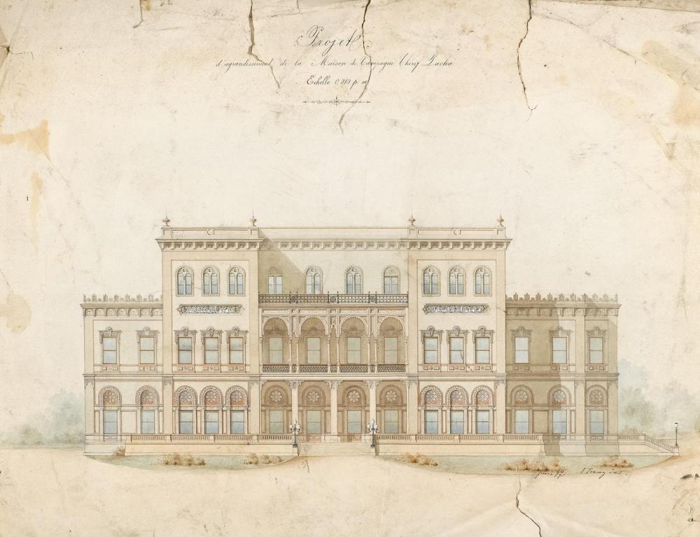 Entwurf für die Erweiterung des Landhauses von Chérif Pascha