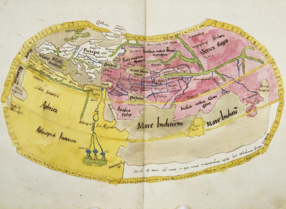 Handgezeichnete Kartenkopien des Straßburger Ptolemäus von 1513