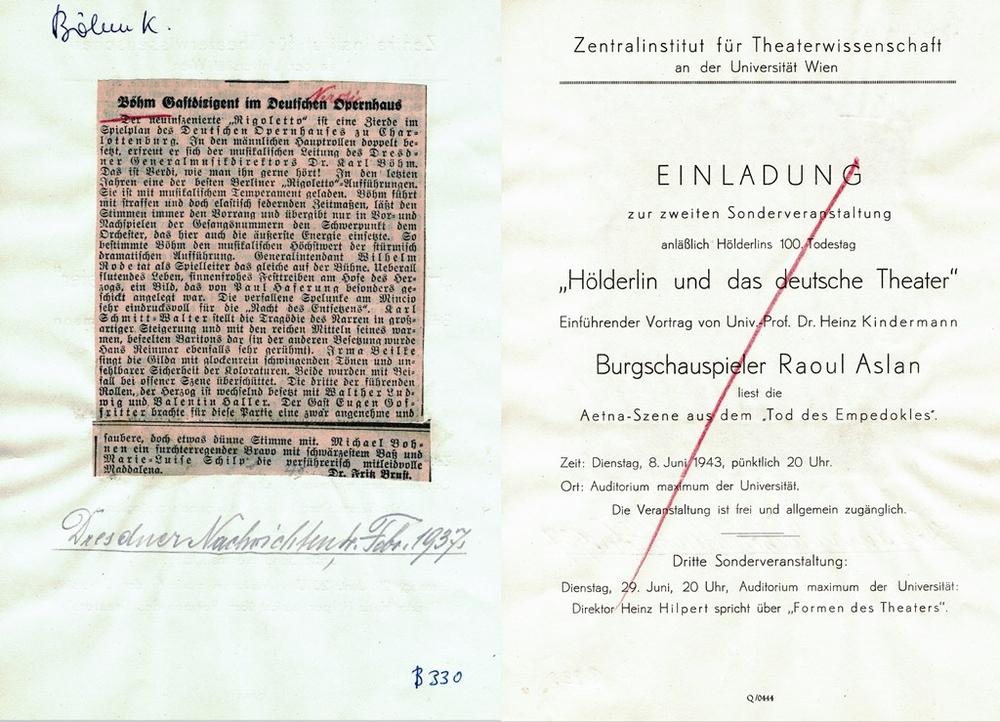 """Blatt aus dem """"Theaterarchiv Leuschke"""""""