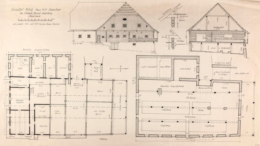 """Bauernhausplan """"Einzelhof Rötsch"""" - Granitzen bei Obdach, Steiermark"""