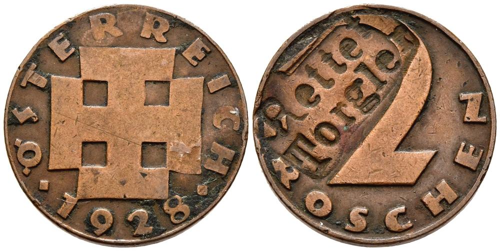 Zwei-Groschen-Münze mit Punzierung