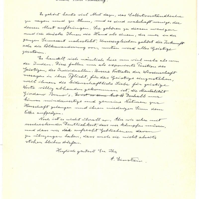 Brief von Albert Einstein an Hans Thirring vom 3. 4. 1933