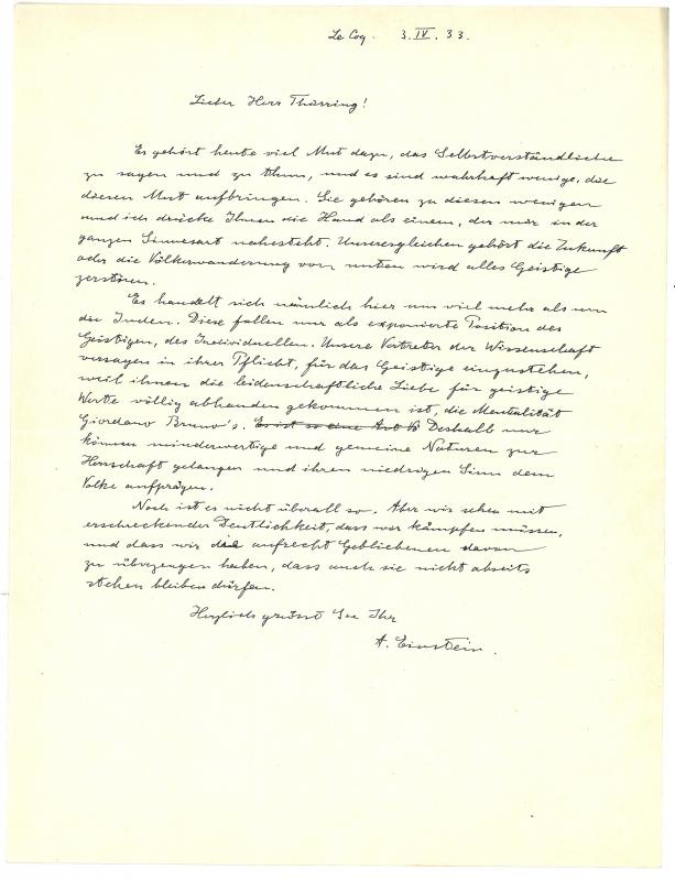 Brief von Albert Einstein an Hans Thirring