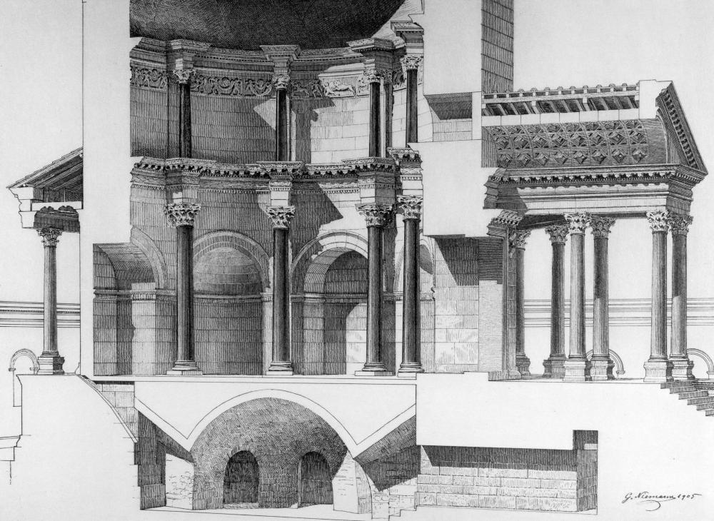 Modell des rekonstruierten Diokletiansmausoleums mit umgebender Architektur in Split, 1910–1912