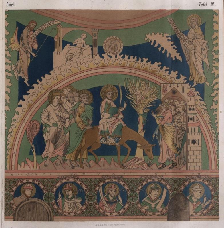 Einzug Christi in Jerusalem, Fresko der Bischofskapelle des Gurker Domes (um 1260)